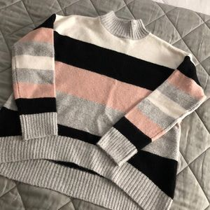 Turtleneck High-Low Striped Sweater